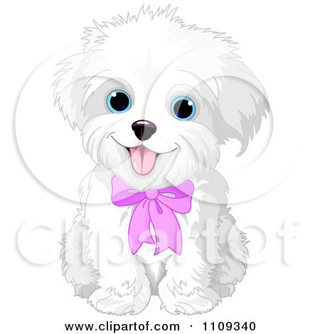 Clip Art Clip Art Puppy pictures of cute cartoon puppies clipart best silhouette cameo bichon frise or maltese puppy dog wearing a pink bow royalty free vector