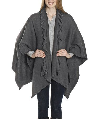 This Gray Ruffle Shawl by David & Young is perfect! #zulilyfinds: