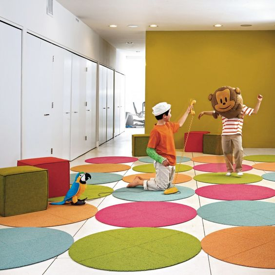 Colorful Playroom: Flor Fuzzy Button Round Carpet Tiles- $59.99/4 (39.5