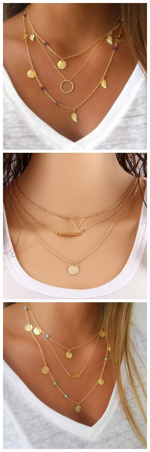 Chain 3 Layers Leaves Ring Pendant Woman Necklace