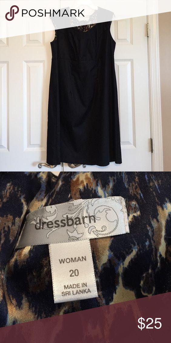 Dress Barn dress dark navy stretchy denim size 2X Dress Barn dark navy denim color dress with great neckline.  Women's size 2X.  NEVER WORN OR WASHED.  New without tags. Dress Barn Dresses