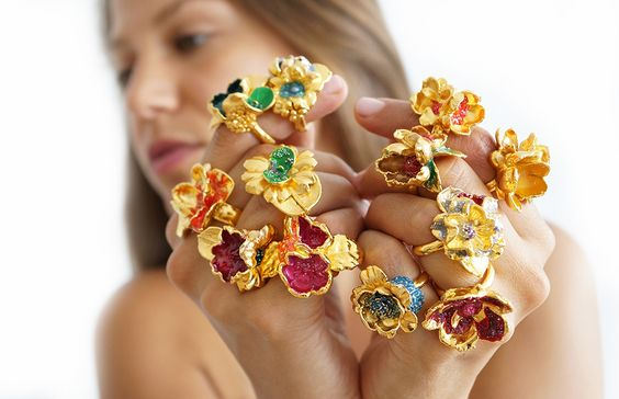 gold bouquet of happiness:)  handmade one-of-a-kind Ruta Reifen rings  http://www.siennapatti.com/project/ruta-reifen-dvash/
