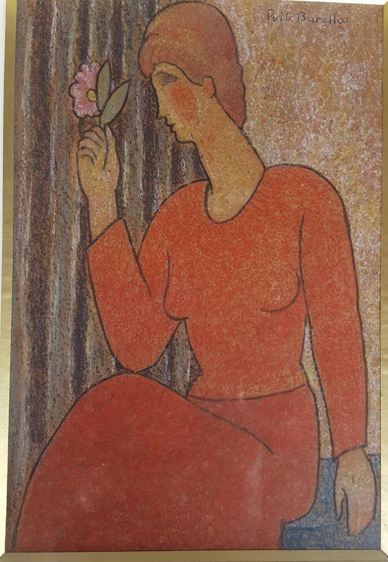 "Lluis Puig Barella ""mujer con flor"" tecnica mixta."
