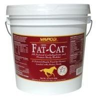 FAT-CAT, Size: 12 POUND, Restricted States: AZ, CA, NM (Catalog Category: Equine Supplements:SUPPLEMENTS) by VAPCO. $58.31. Especially engineered to provide all horses with a powerful blend of nutrients. Loaded with key body building nutrients and select vitamins and minerals to achieve great gains in stamina, size, strength. Contains digestive aiding enzymes as well as beneficial microflora for complete nutrient breakdown and assilation by the body Essential fat...