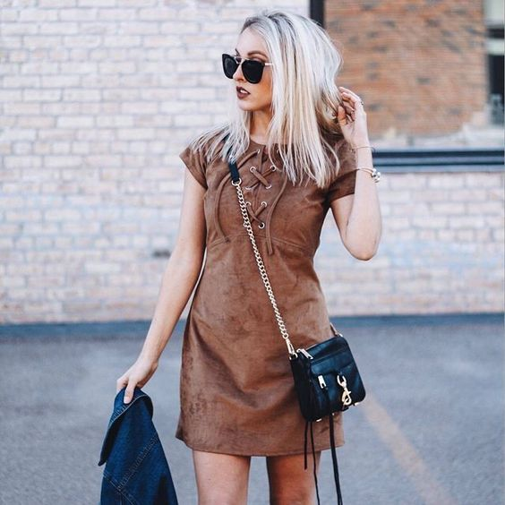 Add some western vibes to your spring wardrobe in @katesedlacek's lace-up suede shift | Shop her look with www.LIKEtoKNOW.it | www.liketk.it/2gCS4 #liketkit
