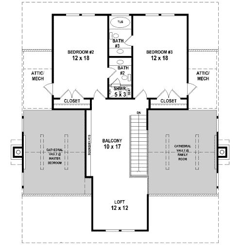 2nd floor house plans and home design on pinterest for Rear master bedroom house plans