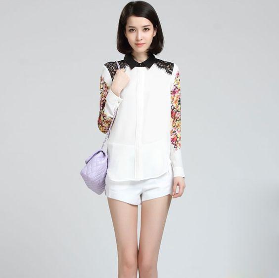 2013 Stand Collar Long Sleeve Lace Chiffon Blouse