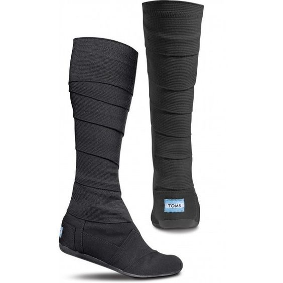 TOMS Shoes Black Vegan Wrap Boots - Women 5.5 ($98) ❤ liked on Polyvore featuring shoes, boots, toms, black boots, vegan shoes, black formal shoes, toms shoes and fake leather boots