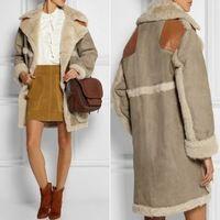 Las mujeres calientes de lana de invierno cálido algodón Splice Cordero Suede Tela Prendas de abrigo abrigo de pieles # 67828