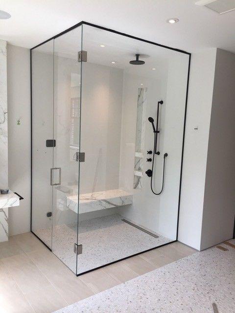 Corner Shower With Black Trim And Starfire Clear Glass Artistcraft Com In 2020 Corner Shower Glass Corner Shower Black Shower Doors