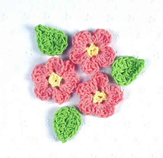 Small Delicate Crocheted Tea Rose Flower Appliques w/ Leaves