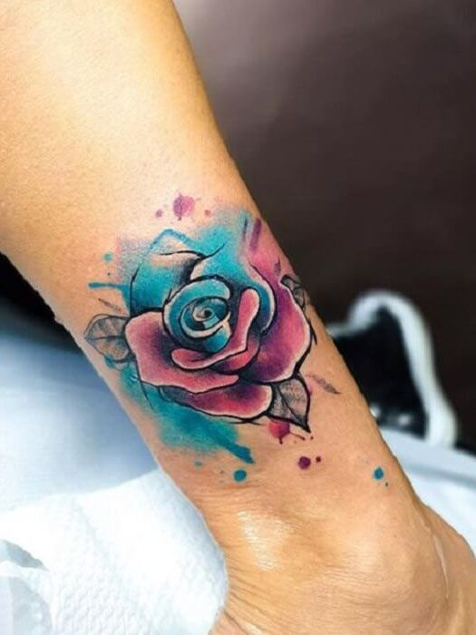 Rose Tattoo On Ankle In 2020 Watercolor Rose Tattoos Rose Tattoo Sleeve Red Rose Tattoo