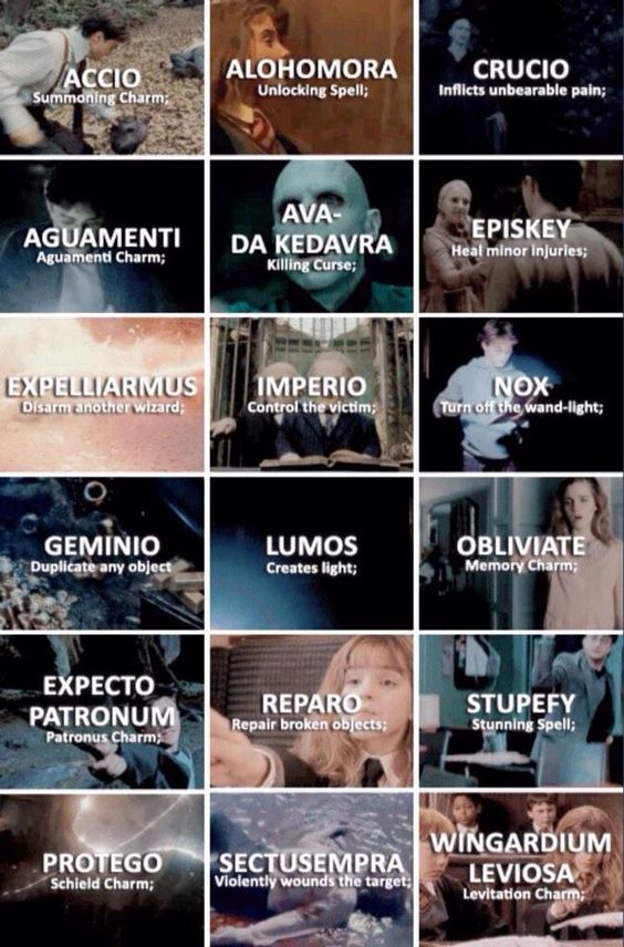 Harry Potter Spells Asthetic