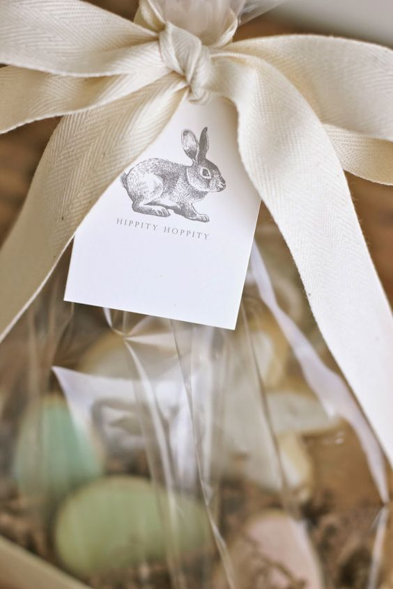 Simple cotton ribbon and printed gift card…Garden, Home and Party: Easter 2014
