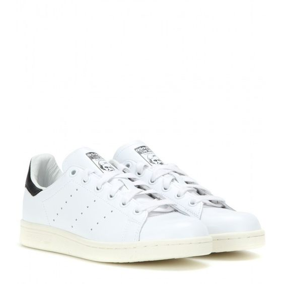 Adidas Stan Smith Leather Sneakers ($105) ❤ liked on Polyvore featuring shoes, sneakers, white, leather shoes, adidas footwear, real leather shoes, adidas sneakers and white trainers