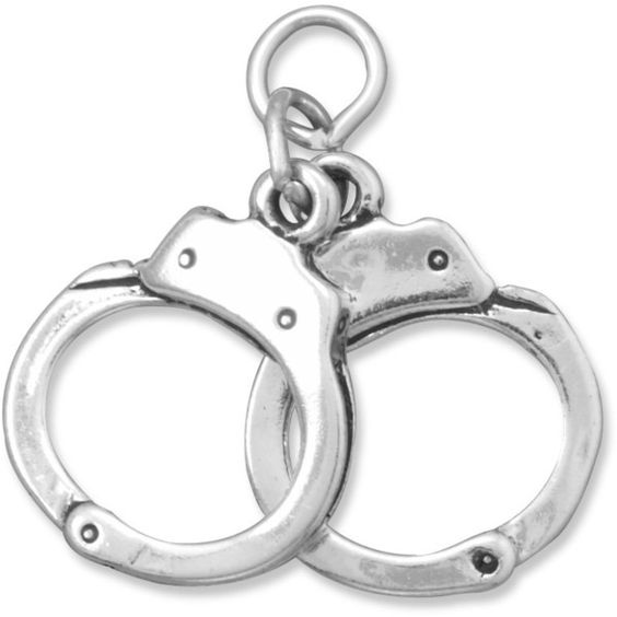 Pair of Handcuffs Charm ($16) ❤ liked on Polyvore featuring jewelry, pendants, handcuff charm, charm jewelry, handcuff jewelry and charm pendant