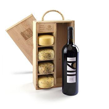 Costco Mexico - Ramonetti caja de madera con quesos y vino 6 piezas