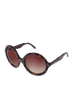 Women's Brown & Blue Marble Round Frame Sunglasses