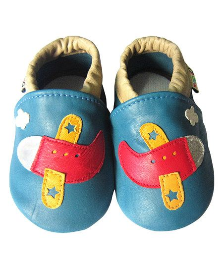 Blue & Red Plane Leather Booties