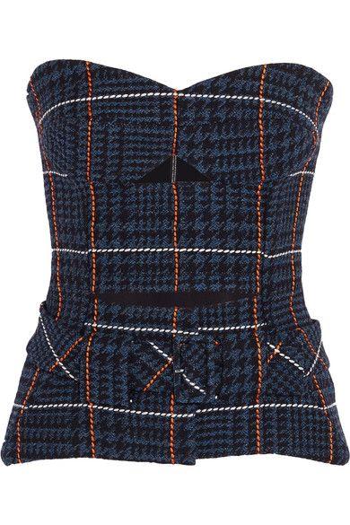 Victoria Beckham | Strapless houndstooth wool bustier top | NET-A-PORTER.COM