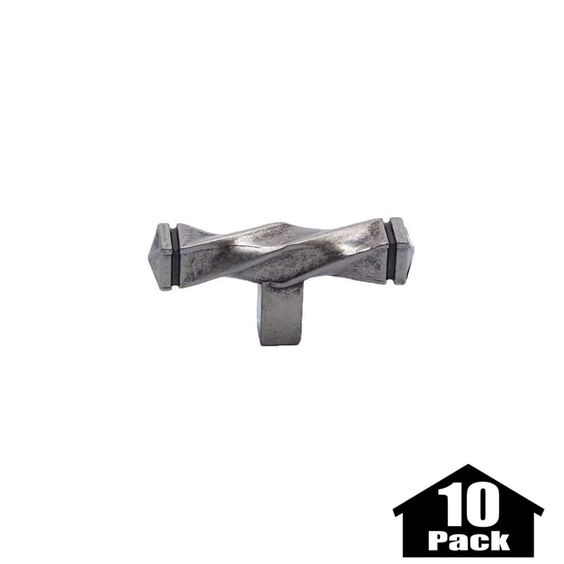 Berenson 3046-10PACK Rhapsody 2-1/2 Inch Long Bar Cabinet Knob - 10 Pack Weathered Nickel Cabinet Hardware Knobs Bar
