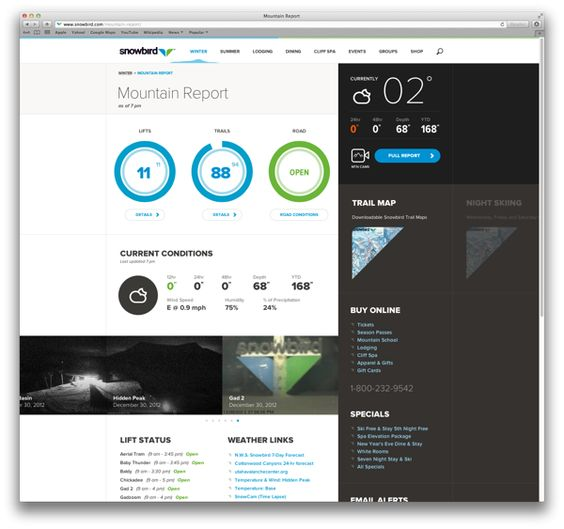 Snowbird.com by Rally Interactive , via Behance