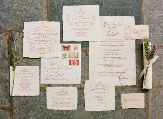 Rice Paper Wedding Invitations with Wine Red Font