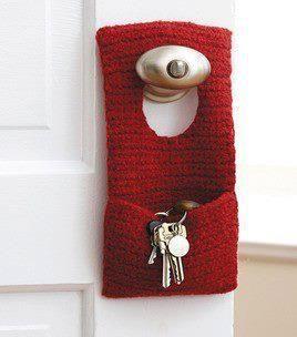 porta chaves de trico