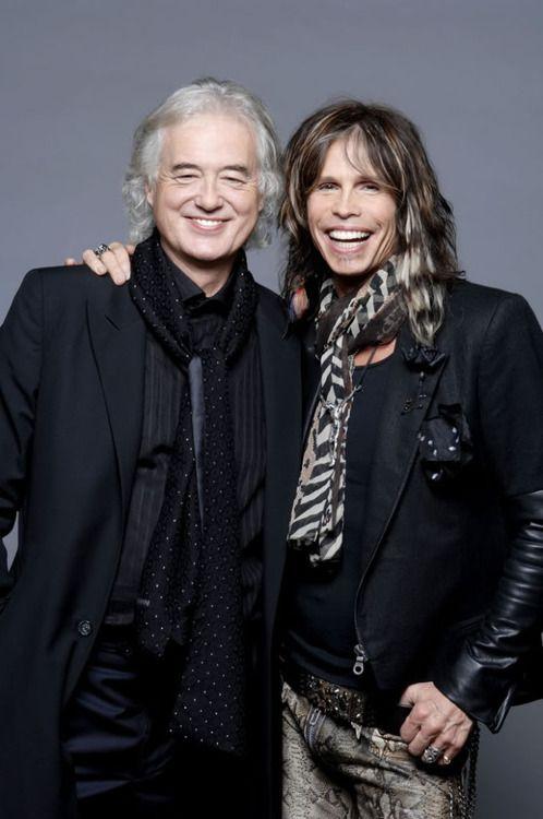 Jimmy Page, guitarrista de Led Zeppelin junto a Steven Tyler, vocalista y frontman de Aerosmith