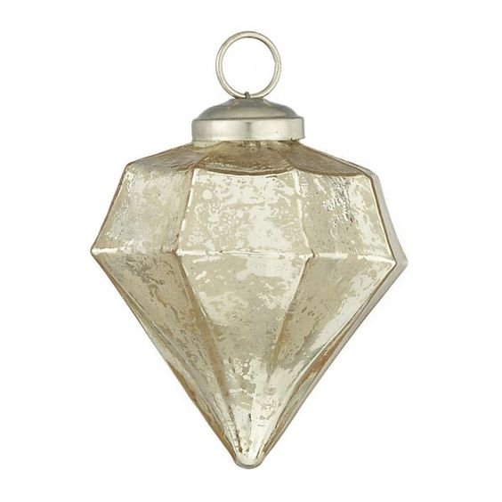 Antique Glass Champagne Diamond Drop Ornament. $2.95