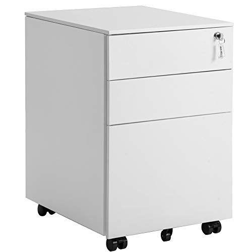 3 Drawer File Cabinet Mobile Metal Lockable File Cabinet Under Desk Color White Filing Cabinet Metal Filing Cabinet Drawer Filing Cabinet