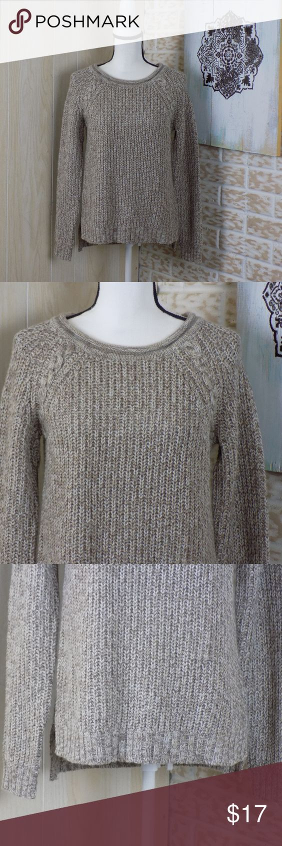 Pink Rose Tan White Knitted Scoop Neck Sweater