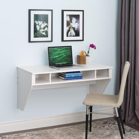 42 Modern Floating Wall Mounted Desk In White White Floating Desk Floating Desk Floating Wall Desk