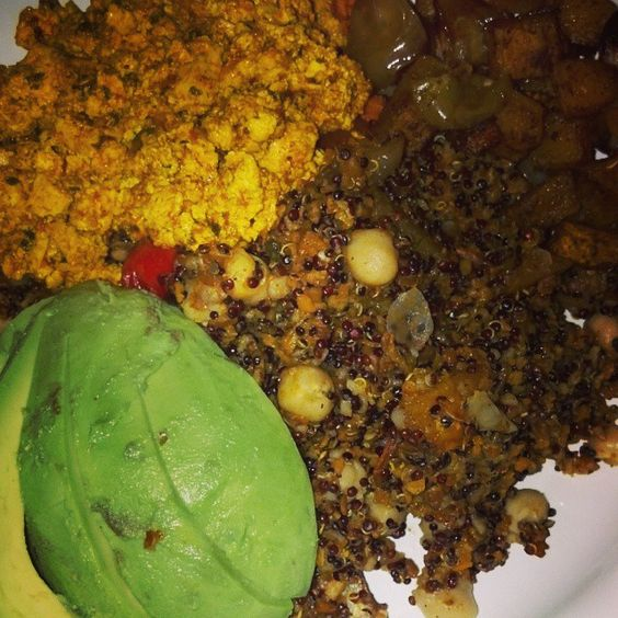Tofu scramble made with turmeric to achieve the color, scrambled with ...