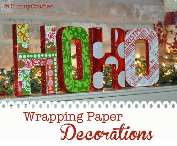 Wrapping Paper Letters with glitter wrapping paper and mod podge from @ClumsyCrafter Wrapping Paper Letter Decorations