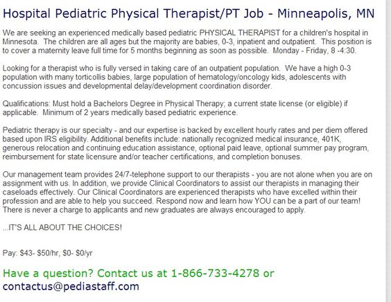Hospital Pediatric Physical TherapistPt Job  Minneapolis Mn We