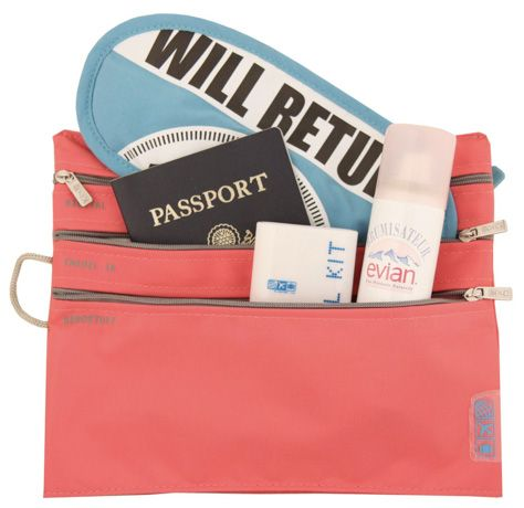 10 Must-Have Airline Friendly Toiletries Escape Roundup  1. A Bottle Set: toiletry of your choice.  2. Stain Remover: Stain sticks or mini pouches of laundry detergent to quickly do a wash in the bathroom.  3. Tissues  4. Towelettes  5. A Dental Kit  6. Hand Sanitizer Wipes  7. Pain Reliever  8. Solids and Bars  9. Lip Balm and Lotion for dry air   10. Ear Plugs