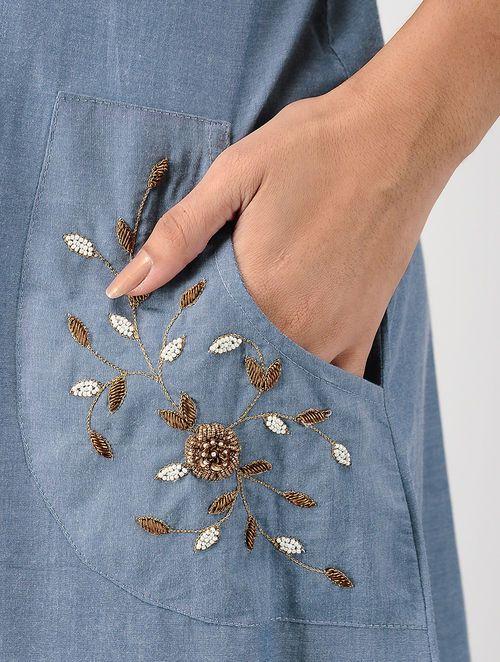 Buy Blue Embroidered Cotton Denim Dress Online At Jaypore Com Kurti Embroidery Design Embroidery Neck Designs Embroidered Clothes,Machine Design Magazine