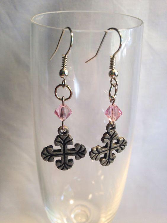 Pink Swarovski Crystal metal cross earrings by KCstylejewelry
