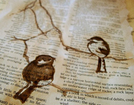 Birds on book page