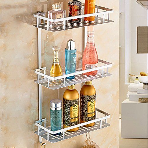 Sunmics No Drilling Bathroom Shelves Aluminum 3 Tier Shower