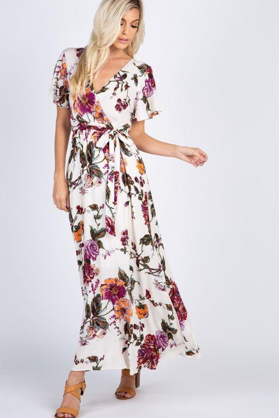2020 Yazlik Elbise Modelleri Beyaz Uzun Kisa Kol V Yaka Klos Etekli Cicek Desenli Kahverengi Topuklu Ayakkabi Elbise Modelleri Elbise Elbiseler