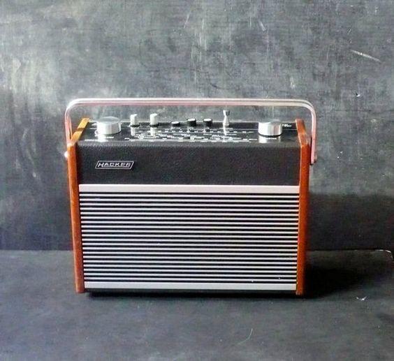 Hacker Hunter Vintage Portable Wood Radio $235