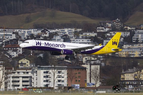 Monarch Airbus A321 G-OZBU landing at Innsbruck.
