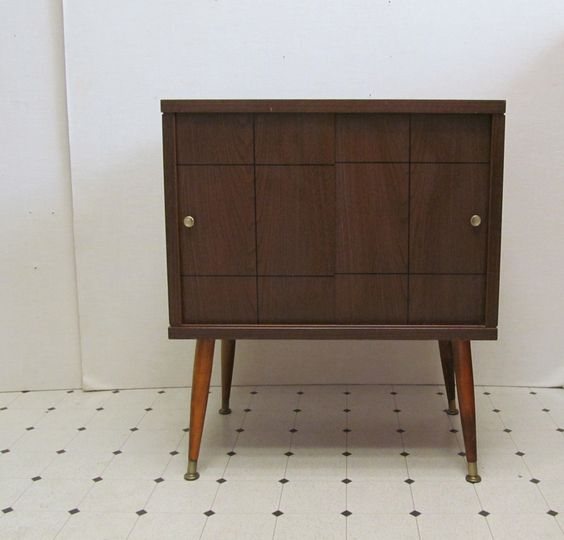 Vintage Mid Century Record Cabinet Record Player Table