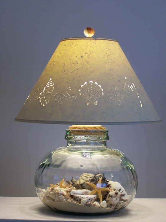 Easy Diy Sea Shell Projects Barattoli Di Vetro Lampada Barattolo Paralume Fai Da Te