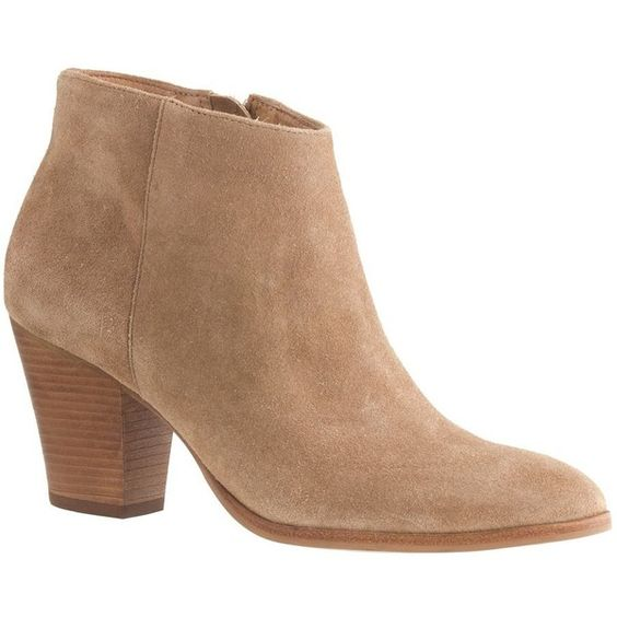 J.Crew Laine Suede Boots ($125) ❤ liked on Polyvore featuring shoes, boots, ankle booties, j.crew, ankle boots, j.crew boots, short high heel boots, suede bootie and short suede boots
