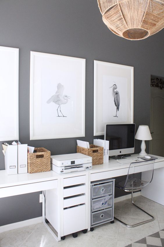A Shared Workspace With Two Micke Desks A Couple Of Drawer Units And Crates For Storage Home Office Furniture Home Office Design Cheap Office Furniture