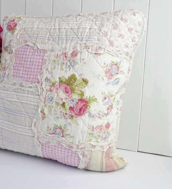 Shabby Chic Pillow Ideas : shabby chic clothes Shabby Chic Country Style Patchwork Cushion Cover things to sew ...