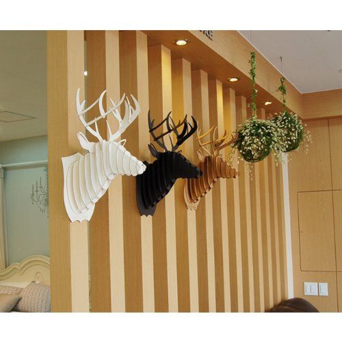 decoration murale kit trophee de chasse puzzle 3d carton original animal tete de cerf large. Black Bedroom Furniture Sets. Home Design Ideas